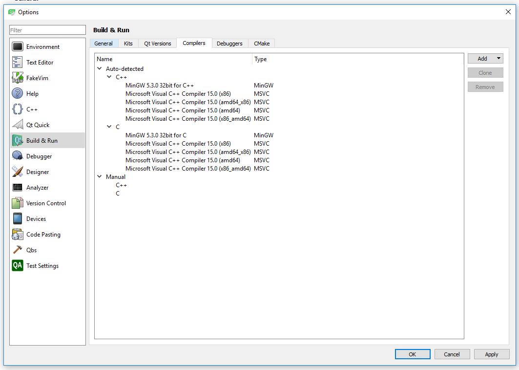 C++ - QtCreator qmake Невозможно запустить компилятор 'cl