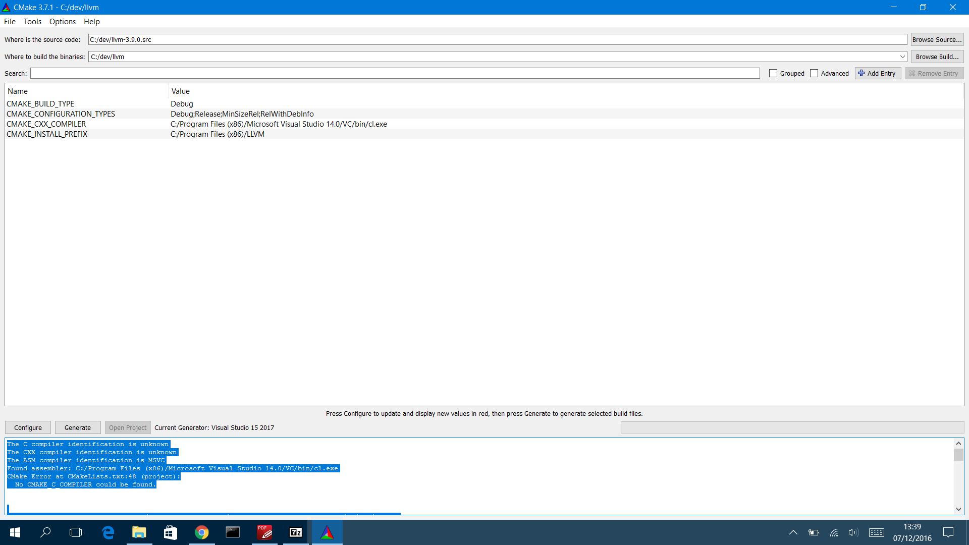 C++ - Невозможно собрать LLVM в Windows 10 с использованием