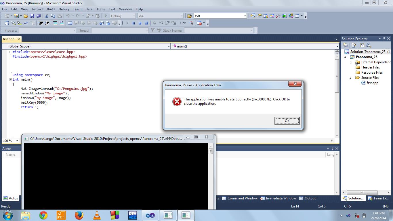 C++ - Ошибка в Visual Studio 2010 Ошибка приложения (opencv
