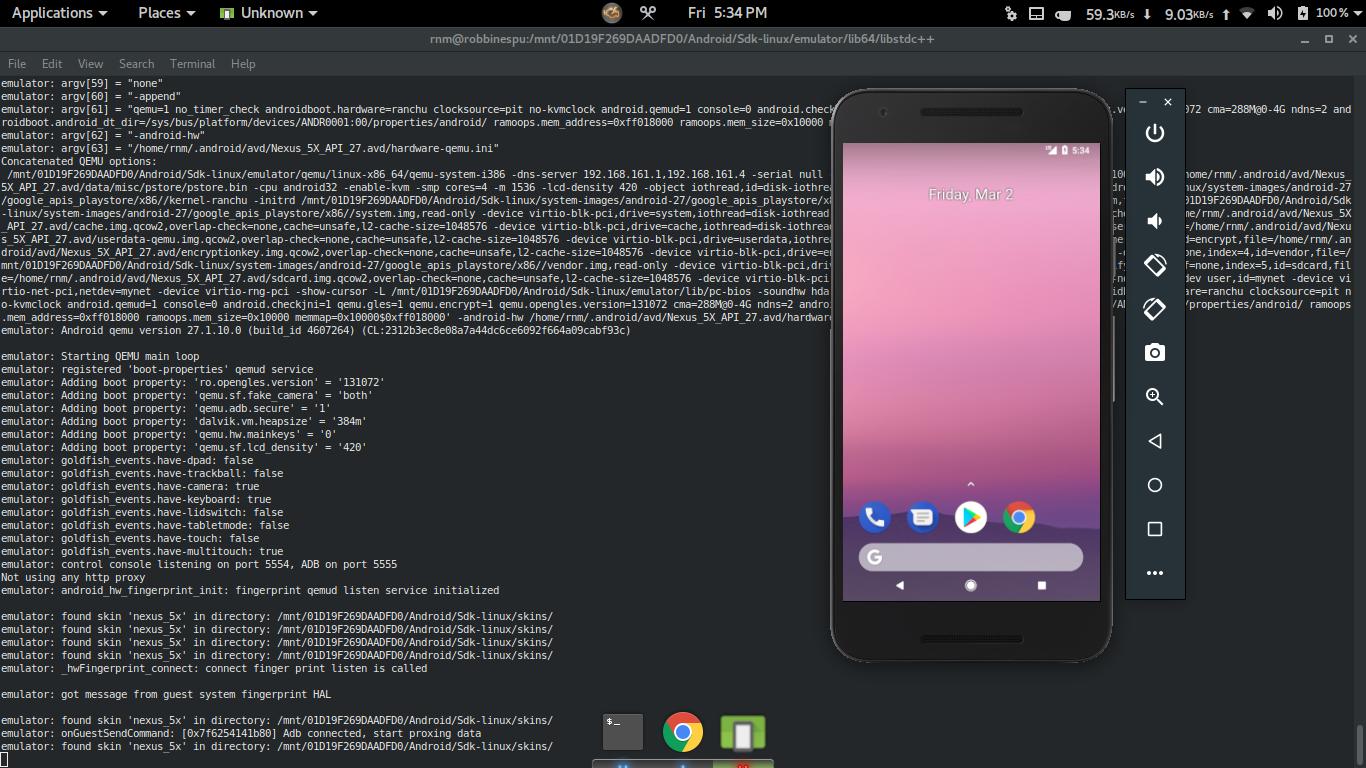 C++ - android - Когда запускаю AVD через primusrun, я